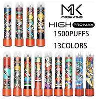 Maskking High PRO MAX-Einweg-Vape-Stift E-Zigarettengerät mit Lichtern 850mAh-Batterie 4,5ml Pod vorgezogene Patrone 1500 Taucher Mk Kit Vs Runfloat Float