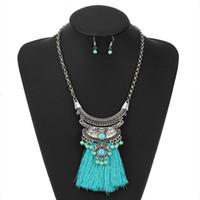 Aleación de joyería de moda Exagerada tassel collar de mujer pendiente conjunto