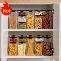 700/1300 / 1800ml Recipiente de armazenamento de alimentos Cozinha de plástico refrigerador caixa de macarrão multigrain tanque de armazenamento transparente latas seladas