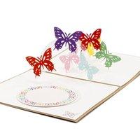 3D Pop Up Tarjeta de felicitación Mariposa Feliz Aniversario Cumpleaños Valentine Fiesta de Navidad Regalos Y1120