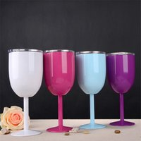 10oz Goblets Stainless Steel Double Wall Glass Wine Tumbler Insulation Vacuum Cocktail Glasses With Leakproof Lid Cup sea ship LLE6597