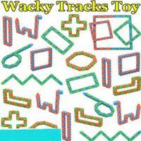 8 Colores Wacky Tracks Snap y Click Snake Puzzle Sensory Fidget Toys Fingers Earga Juguete Ansiedad Estrés Relieve Adhd Necesita Tarjeta Educativa Regalos H415uol