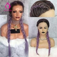 Racines brunes ombre violet perruque synthétique dentelle de la dentelle avant résistant à la chaleur cosplay boîte tressée perruques pour femmes noires OLEY Offre spéciale