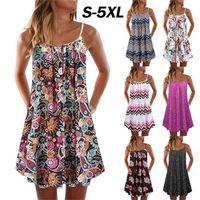 2020 summer new women's printed pleated swing loose suspender dress