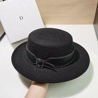 Stingy Brim Hats 2021 Winter Hat Wool Fedoras Flat Top For Women's Felt Wide Fedora Black Jazz Cap Classic Bowler Belt