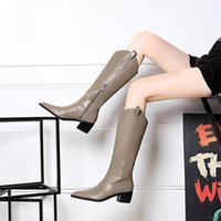 Perfect Brands Jumping Tall Boot Kelly Buckles Women Genuine Leather Knee-boots Black Brown Ladies Martin Booties Female Knight Boots Sapatos Mujers