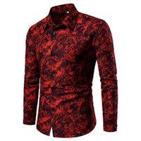 Homens casuais camisas debracat homens manga longa floral camisa de moda tops botão up formal party blouse