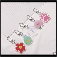 Keychains Cartoon Cute Peach Avocado Flower Smile Face Keychain For Women Trinket Key Chains Car Bag Pendent Charm Fruit Ring M994H G10Lw