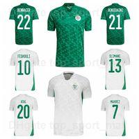 2021-22 Équipe nationale de football Algérie Jerseys 21 Bensbaini 23 Bolhi 10 Tasfaout 9 Menad 11 Madjer Slimani Mahrez Mandi Mandi Kits de chemise de football Mandi Bounedjah