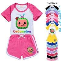 Cocomelon الكرتون المطبوعة أطفال الصيف رياضية قصيرة الأكمام + السراويل قطعتين الدعاوى الملابس الحلوى الألوان عارضة ملابس الملابس GG496FSR