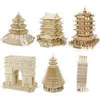 Kinder 3D Holz Puzzle, Big Ben Model, Windmühle, Eiffelturm, Burg, Architektur, Puzzle, Kinderspielzeug, Geschenke, Heimdekoration
