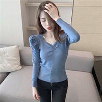 Knit Female Fall Into New Joker Jacket Fold V-neck Hubble-bubble Sleeve Render Unlined Upper Garment Sweater