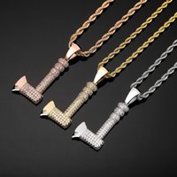 Hip hop Personality axe pendant necklaces for men women luxury designer mens bling diamond gold chain necklace jewelry love gift