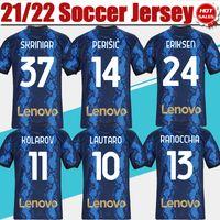 2021 2022 # 10 Lautaro Soccer Jersey Home # 24 Eriksen fans Version Football Shirt Alexis Vidal Skriniar Hommes Uniformes de football adultes personnalisés S-4XL en vente