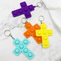 Boys Girls Cross Keychain Favor Finger Bubble Music Decompression Children Puzzle Pressing Exercise Board Silicone Toy Tiktok
