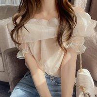 Women's Blouses & Shirts Blusas Mujer De Moda 2021 Mesh Off Shoulder Womens Tops Puff Sleeve Korean Chic Blouse Shirt Summer Thin Elegant 15