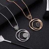 Роскошные черные хрустальные кулон ожерелье золотая цепь свитера Большой круг Круглые длинные женские ювелирные изделия аксессуары подарки