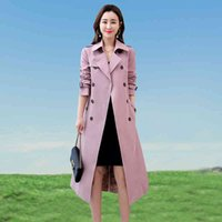 2020 Hohe Qualität Herbst Lange Trench Frauen Koreanische doppelbrechliche schlanke Windjacke weibliche Mode Gürtelter Büroschicht