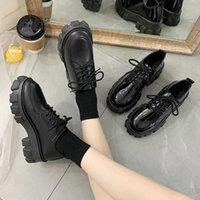 Dress Shoes Sapatos femininos oxford sem salto com cadarço, sapatos casuais de couro sola grossa 9143n para primavera e outono 7J6Z