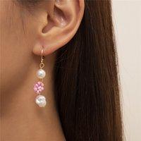 Ethnic Style Daisy Imitation Pearl Dangle Earrings Metal Rice Beads Tassel Ear Buckle European Women Business Party Dress Flower Earring Jewelry Accessories