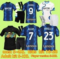 S-4XL jugadores fans kit de niños adultos Inter Barella 4th Soccer Jersey Lukaku Vidal Lautaro Eriksen Alexis 20 21 de Vrij Football Shirt 2021 2022 Hakimi Uniforms