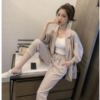 Women Plus Size Spring Summer Pants Suits Office Lady Two-Piece Set Female Casual Blazer Jacket+ Trousers Slim Fit Women's & Blazers