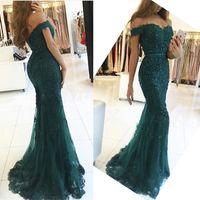 Robe femme fora do ombro vestido longo vestido sereia vestido de noite lace robe de soiree longue vestido formal abiye gece elbisei verde