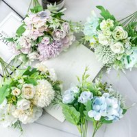 Decorative Flowers & Wreaths 1 Bunch Artificial Silk Rose Peony Hydrangea Flower Hand Bouquet Wedding Bridesmaid Vase Table Indoor Potted De