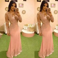 Blush Pink Sheath Evening Dresses with Long Sleeves 2022 V Neck Beaded Lace Applique Floor Length Ruched Custom Made Plus Size Prom Party Gown vestidos