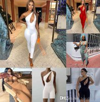 Designer mulheres jumpsuits um ombro sexy romper elegante moda skinny bodysuit pulôver confortável clubwear irregular torção sem mangas calças finas 8510