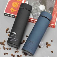 500ML Water Thermos Tea Vacuum Flask With Filter Stainless Steel 304 Sport Thermal Cup Coffee Mug Bottle Office Business 210907