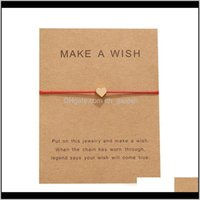 Jewelry Drop Delivery 2021 Arrival Make A Wish Card Bracelets Fashion Red Rope Handmade Woven Gold Plated Heart Charm Bracelet For Women Mens