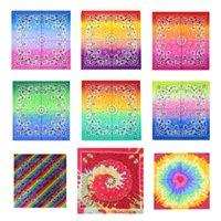 Party Decoration Tie dyed cashew square towel with gradient hip hop magic headband cotton BANDANA printed handkerchief T2I51967