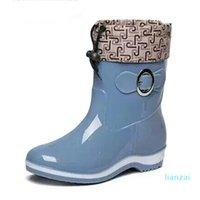 Rain Boots Rubber Women Ankle Boots Casual Platform Shoes Woman Warm Flats Women Shoes Size 36-40 Red blue beige