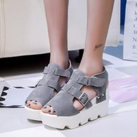 Sandals Summer Women Suede Platform Shoes Peep Toe Wedges Woman 2021 Thick Bottom Muffin Casual Sandalias Mujer