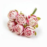 Flores decorativas grinaldas 6 pcs DIY artesanato artesanal artesanato de seda mini chá rosa bud buquê de flores artificiais scrapbooking festa de casamento decora