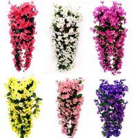 Newfashion violeta flores artificiales pared colgando cesta flor orquídea seda coronas vid casero boda fiesta calle luz decoración EWD6282