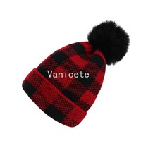 Party Hats Winter Grid Crochet Hat Warm Knitting Tuque with Big Fur Ball Kids Baby Women Men Plaid Skull Caps Thick Ski Headwears T2I52922