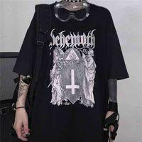 Qweek Goth Harajuku Tshirt TSHirt Emo Style Mall Goth Tops Летние Панк рок готические графические футболки стрит одежда черные топы одежда 210331