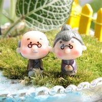 Atacado- 1 par artesanato boneca boneca casa miniaturas diy velho vovó jardim gnomo animais musgo terrarium home desktop decor 1206 v2