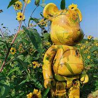 BearBricklys 28cm 400% Bearbrick Figuras Toy Van Gogh Blocos de Girassol Bear Figure Figura Garagem Kits Kits Bonecas Crianças Brinquedos
