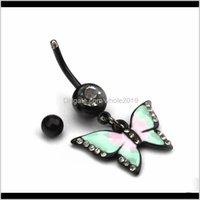 Çan Bırak Teslimat 2021 Kelebek Kolye Belly Düğme Sevimli Göbek Yüzük Seksi 316L Cerrahi Çelik Rhinestone Vücut Piercing Takı Lady Için