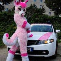 2019 factory sale new Customized Pink Fursuit Husky Wolf Fox Mascot Costume Animal Suit Halloween Christmas Birthday Full Body Props