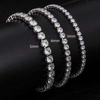 Jewelry stall men and women Gold Plated Sier zircon hip hop tennis Chain Bracelet
