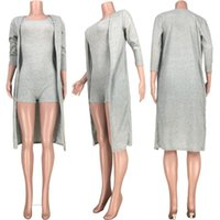 Women's Jumpsuits & Rompers Knitted Women Set Two Pieces Tracksuit Long SLeeve Clock Tops Sexy Sleeveless Bodysuit Suit Outfit Matching Jump