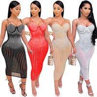 Sexy Women Night Club Dresses Plus Size 3XL Midi Skirt Fall Summer clothes Bodycon one-piece Dress Mesh Sheer Spaghetti Strap Skirts Clubs wear DHL 5567