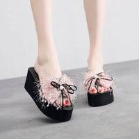 Muqgew 새로운 패션 진주 샌들 웨지 슬라이드 홈 욕실 해변 플립 플롭 신발 해변 슬리퍼 여름 신발 여성 샌들 E6ct #