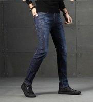 남성 스트레치 일반 피트 청바지 비즈니스 캐주얼 클래식 스타일 패션 데님 바지 남성 블루 블랙 그레이 바지
