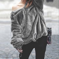 Women's Hoodies & Sweatshirts Women Hooded Pullover Female Warm Jumper Coat Solid Color Casual Long Sleeve Loose Fluffy Tops