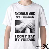 No comas amigos - Camiseta blanca Vegano Vegetariano Top Veggie Tee - Todos los tamaños